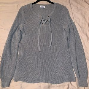 Old Navy Grey Lace-up Sweater